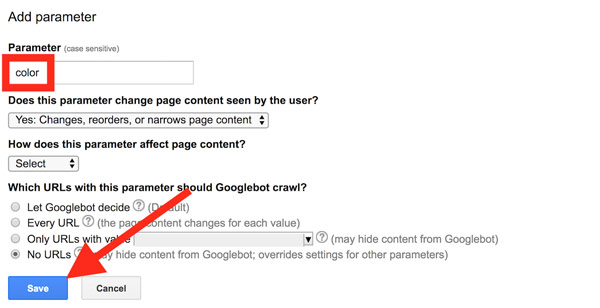 استفاده از پارامترها در گوگل وبمستر
