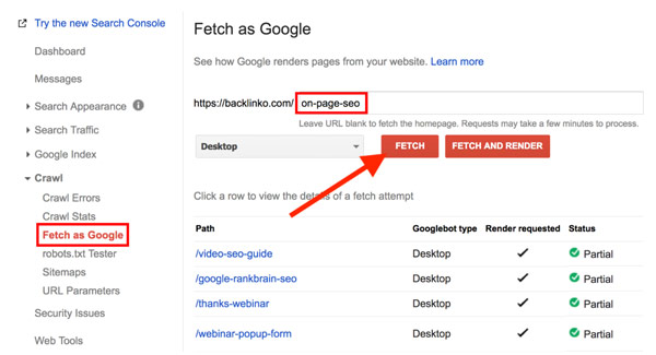 قابلیت Fetch As Google