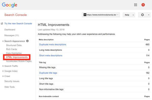 """گزارش های بخش """"HTML Improvements"""""""