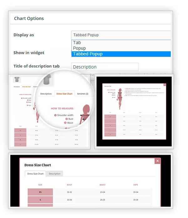 سه حالت نمایشی مختلف افزونه جدول مشخصات برای محصولات