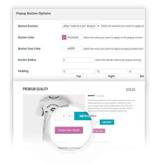 تغییر ظاهر دکمه پاپ آپ در افزونه ساخت جدول مشخصات برای محصولات